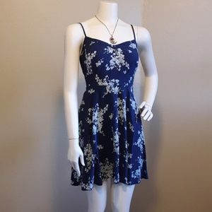 Blue and white floral sun summer dress